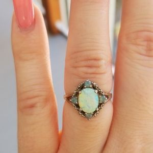 Opal ring w/turquoise & diamond accents